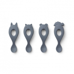 Set de 4 cuillères Liva en silicone - Blue wave