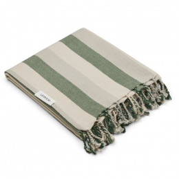 Serviette de plage Mona - Y&D stripe: Garden green&sandy&dove blue