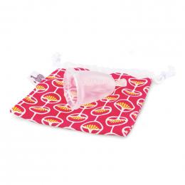Coupe menstruelle dans une housse en coton Bio rose (deux tailles)