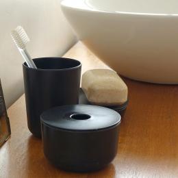 Verre en bambou pour brosse à dents - Noir