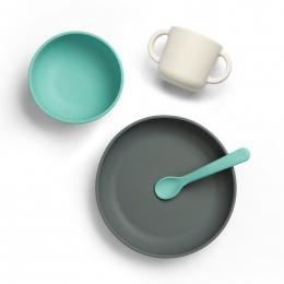 Set de vaisselle en silicone pour bébé - Lagon