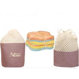 Kit Eco Belle en tissu - 15 carrés démaquillants lavables