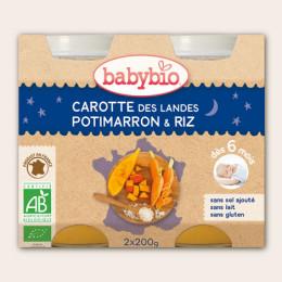 Slaap lekker potje - Worteltjes-pompoen-rijst (vanaf 6 maanden) - 2 potjes