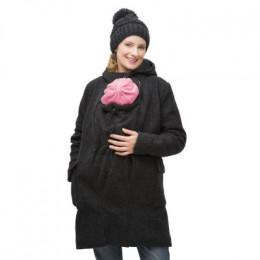 Zwangerschaps- en draagmantel in wol - Antraciet