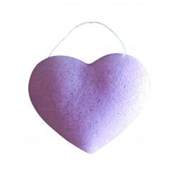 "Konjac spons ""hartje"" - Violet / gevoelige huid"