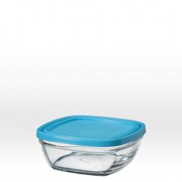 Vierkante glazen slakom met blauw deksel - 14 cm - 61 cl