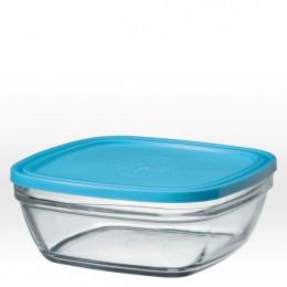 Vierkante glazen slakom met blauw deksel - 23 cm - 310 cl