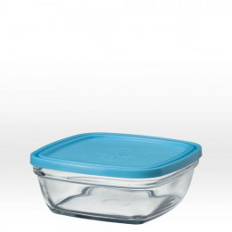 Vierkante glazen slakom met blauw deksel - 17 cm - 115 cl