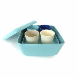 Bamboe picknickset - Sea - Lagoon/Royal Blue/Stone/White