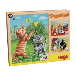 Puzzeldoos met 3 Puzzels - Huisdieren