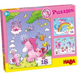 Puzzeldoos met 3 Schitterende Puzzels - Eenhoorn Flonkerglans