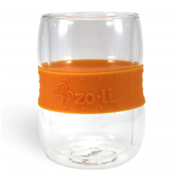 Dubbelwandige Glazen Tas Oranje - Set van 2