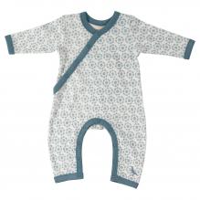 Witte pyjama in BIO katoen met blauwe bloemen