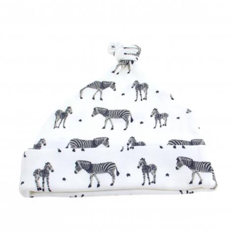 Wit babymutsje uit BIO katoen - Zebras