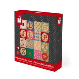 16 gegraveerde alfabetblokken vanaf 2 jaar