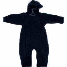 Fleece jumpsuit met kap - marineblauw