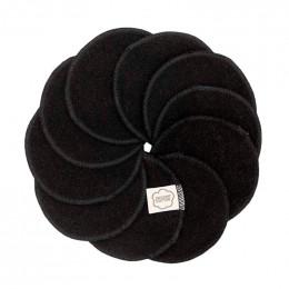Disques démaquillants lavables en coton organique  - Noir - lot de 10