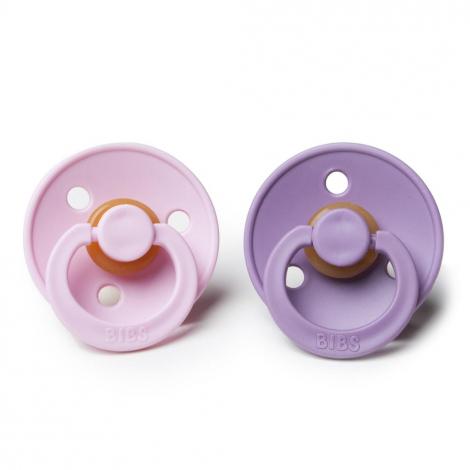 2 BIBS tutjes - lavender & baby pink in natuurrubber