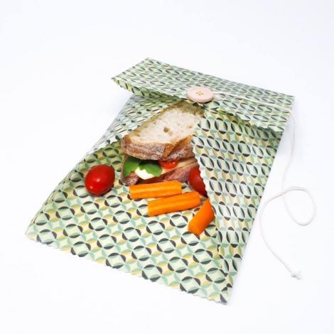 Pochette cirée pour collations - 20 x 25 cm - motifs aléatoires
