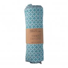 Essuie-tout et serviette de table - 23 x 24 cm - lot de 6 - Fleurs bleues