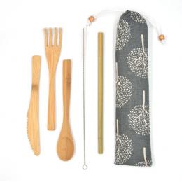 Bamboe bestek en rietje - Grijs opbergtasje met ecru bomen