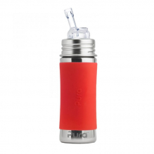Evolutieve RVS drinkfles - 325 ml - Silicone rietje - Vanaf 6 maanden - Oranje