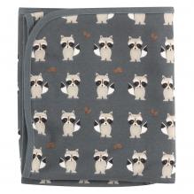Omkeerbare deken in biologisch katoen - 72 x 72 cm - Wasbeer Teal