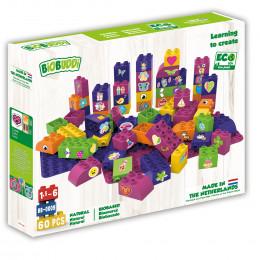 Blokken met 2 basisplaten paars en roze - 60 blokken - vanaf 18 maanden