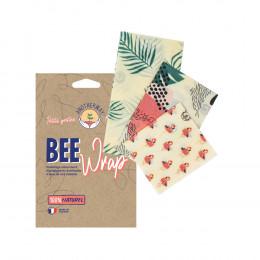 Herbruikbare bijenwas vershoudfolie - Set van 3 maten - Tropische Flamingo's
