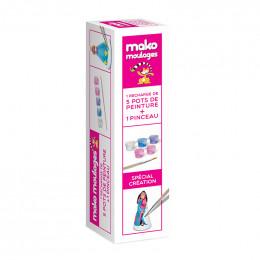 Navulling van 5 verfpotjes voor Mako moulages + verfkwast