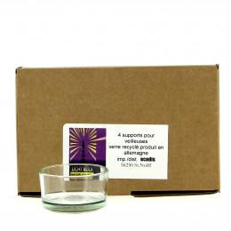 4 kaarsenhouders van gerecycleerd glas