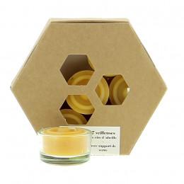 7 waxinelichtjes van bijenwas - MET houder