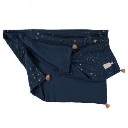 Zomerdekentje Treasure - Gold stella & Midnight blue