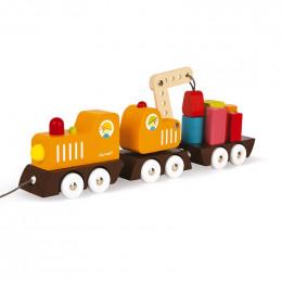 Train grue Multi Colors en bois - à partir de 2 ans