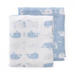 Set inbakerdoeken - Whale blue fog (70x60)