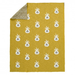 Gebreide deken Pineapple mustard