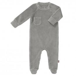 Pyjama velours met voetjes Paloma grey