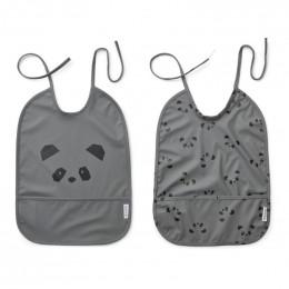 Lai slab met print - 2 pack - Panda stone grey