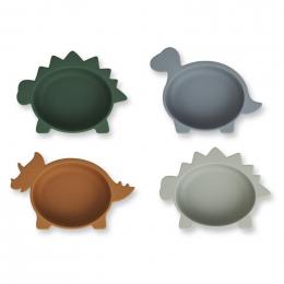 Set van 4 siliconen bowls Iggy - Dino blue multi mix