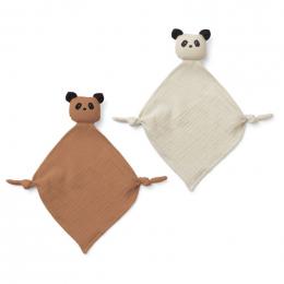 Set van 2 Yoko mini knuffeldoekjes - Panda tuscany rose/sandy mix