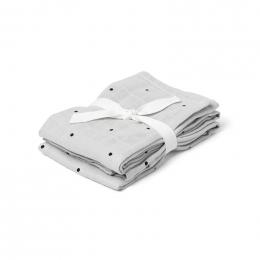 Set van 2 Hannah tetradoeken Classic dot dumbo grey - 70 x 70 cm