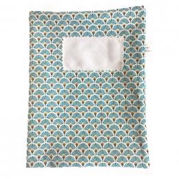 Protège cahier en tissu lavable - A5 - Eventail bleu