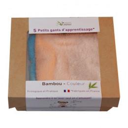 5 kleine oefenwashandjes van gekleurd bamboe