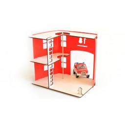 Brandweerkazerne van hout en Priplak rood (29X40X35)