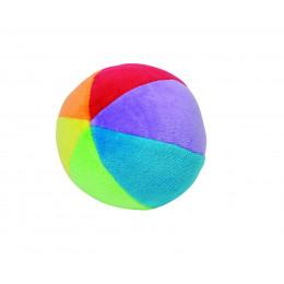 Fluwelen bal met rammelaar in kleurrijk katoen - vanaf 3 maanden